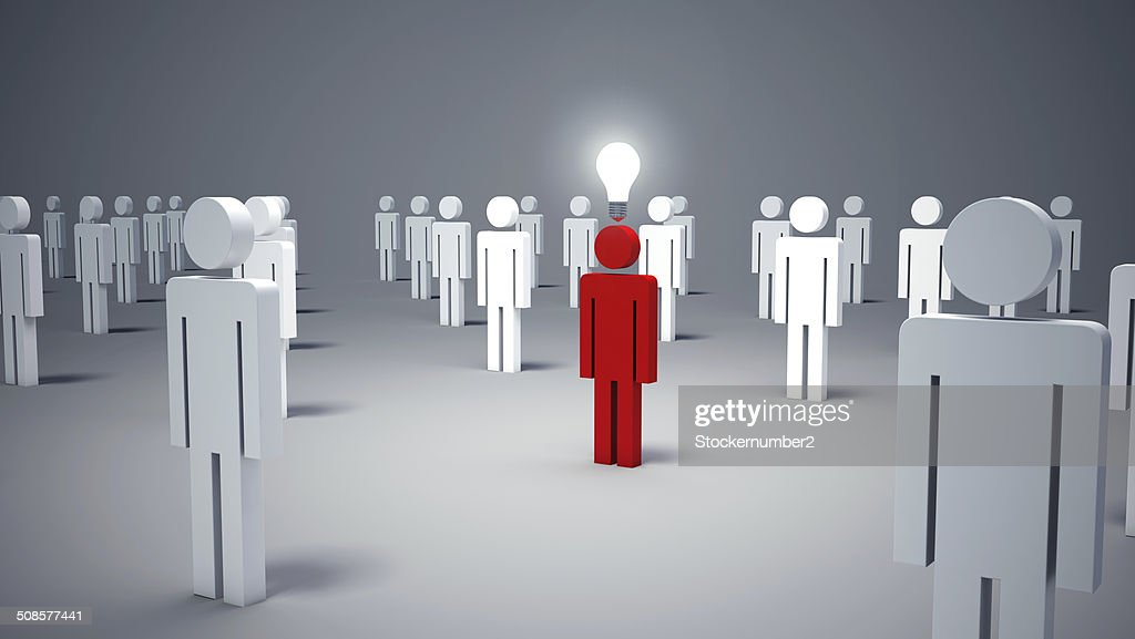 icon man, person and a light bulb. Concept of idea : Stock Photo