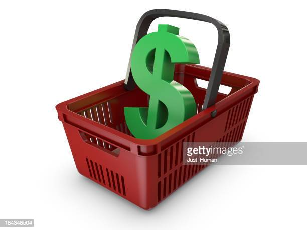 Icon of a red shopping basket containing a green dollar sign