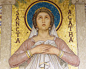 Image of Sancta Agatha in Santa Cecilia in Trastevere, 5th-century Roman Catholic church in Rome, Italy,