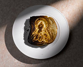 Icon of the Virgin Mary on burnt toast