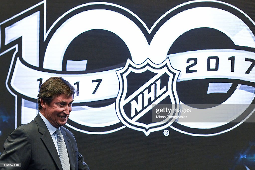 NHL icon Wayne Gretzky attends the unveiling the league's Centennial celebration plans for 2017 during a press conference at the World Cup of Hockey 2016 at Air Canada Centre on September 27, 2016 in Toronto, Ontario, Canada.