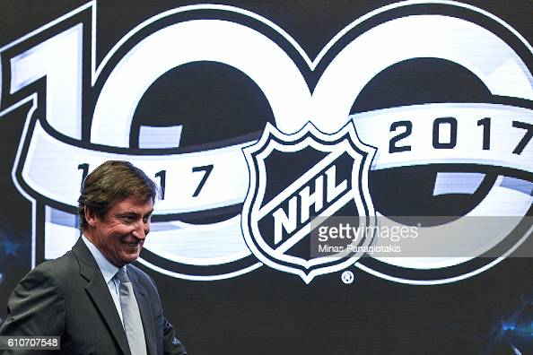 NHL icon Wayne Gretzky attends the unveiling the league's Centennial celebration plans for 2017 during a press conference at the World Cup of Hockey...