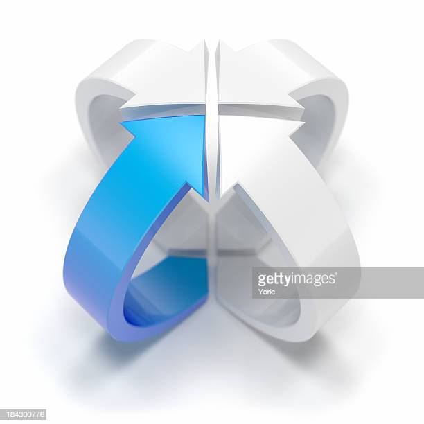 Icon with three white arrows and one blue arrow