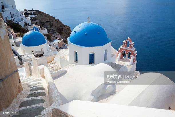 Iconic blue domed churches in Santorini