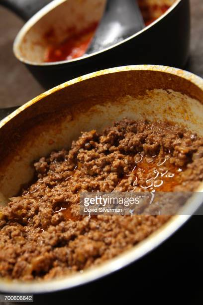 Iconic Bolognese 'ragu' meat sauce and a tomato and basil sauce are ready for serving during a private cooking lesson at Il Salotto di Penelope on...