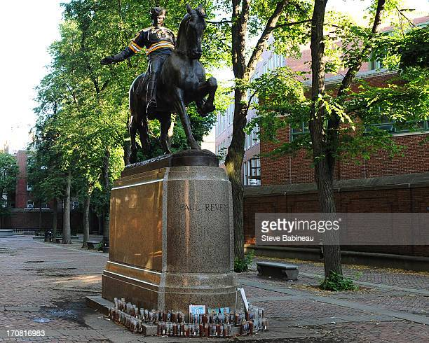 Iconic Boston statue of Paul Revere in the North End dressed in Boston Bruins gear the morning of Game Two of the Stanley Cup Final on June 15 2013...