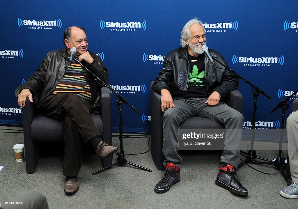 Iconic comedy duo Cheech & Chong attend 'SiriusXM's Town Hall with Cheech & Chong' moderated by Artie Lange at the SiriusXM Studios on April 25, 2013 in New York City.