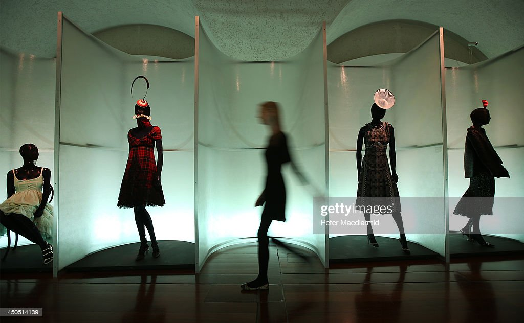 Iconic fashion designs are displayed at the Isabella Blow: Fashion Galore! exhibition at Somerset House on November 19, 2013 in London, England. Presented in partnership with the Isabella Blow Foundation and Central Saint Martins, the show features over 100 garments from designers such as Alexander McQueen and Philip Treacy. Selected from the personal collection of the late British patron of fashion and art, the exhibition runs from November 20, 2013 to March 2, 2014.