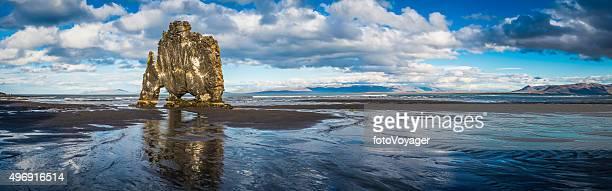 Iconic Hvitserkur sea stack reflecting in black beach panorama Iceland