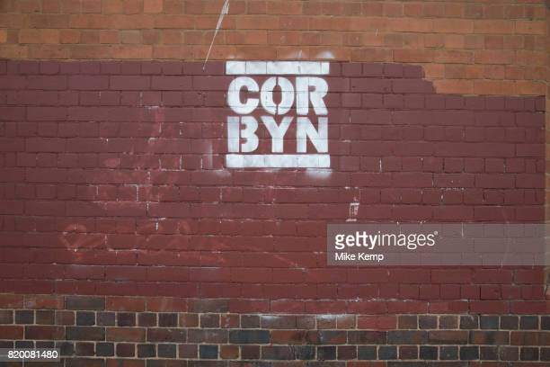 Iconic logo graffiti slogan for Jeremy Corbyn which has appeared since the General Election and takes the form in the same style as the old RUN DMC...