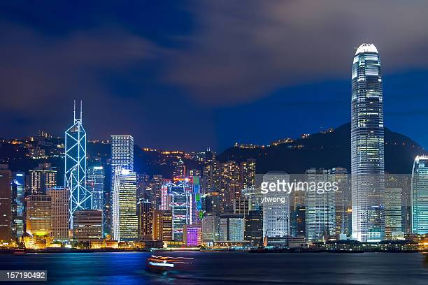 Iconic night scene of Hong Kong