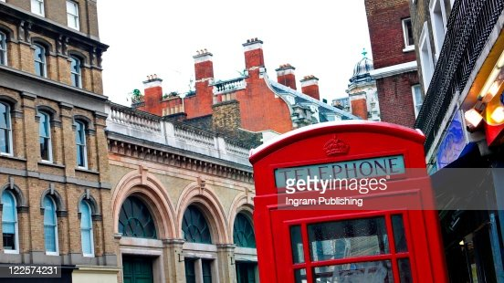 Iconic red phone booth of London, England, UK. : Stock Photo