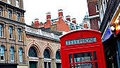 Iconic red phone booth of London, England, UK.