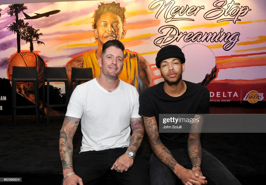 Iconic street artist Jonas Never and Los Angeles Lakers' Brandon Ingram atttends Delta's first 'Beyond The Court Event' to create billboard display together with fans at The Rose Room on March 11, 2017 in Venice, California.