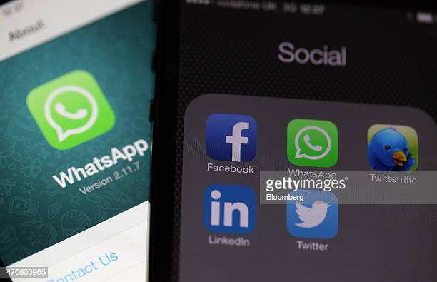 Icons for social media applications including the WhatsApp Inc mobilemessaging application WhatsApp and the Facebook Inc application are seen on an...