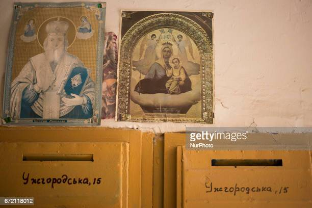 Icons in entry to tenement in Lviv on April 21 2017 Lviv is the largest city in western Ukraine and the seventh largest city in the country overall...