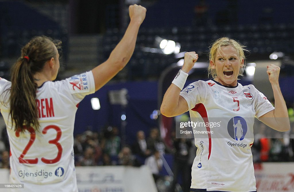 Ida Alstad (R) and Camilla Herrem (L) of Norway celebrates the goal during the Women's European Handball Championship 2012 gold medal match between Norway and Montenegro at Arena Hall on December 16, 2012 in Belgrade, Serbia.