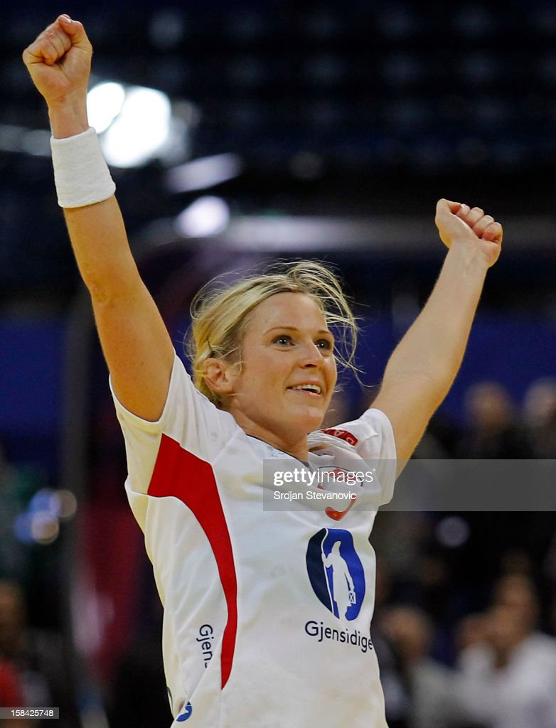 Ida Alstad (C) of Norway celebrates the goal during the Women's European Handball Championship 2012 gold medal match between Norway and Montenegro at Arena Hall on December 16, 2012 in Belgrade, Serbia.