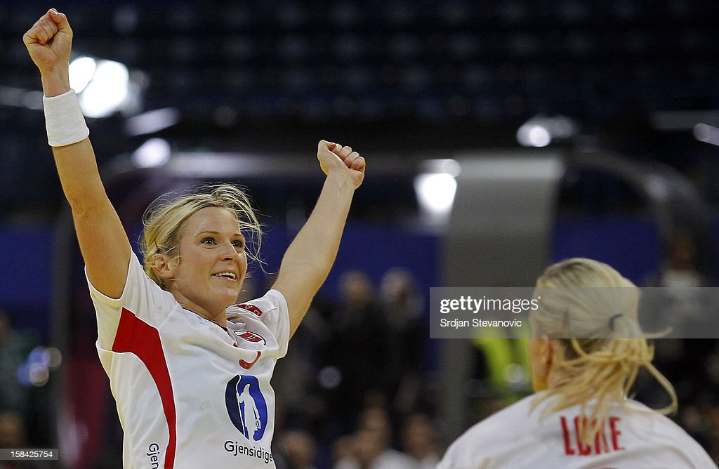 Ida Alstad (L) of Norway celebrates the goal during the Women's European Handball Championship 2012 gold medal match between Norway and Montenegro at Arena Hall on December 16, 2012 in Belgrade, Serbia.