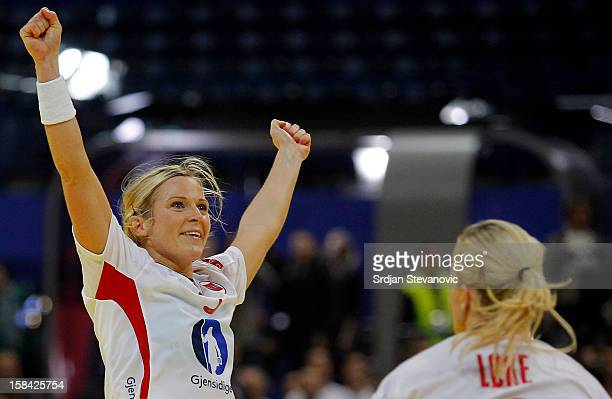 Ida Alstad of Norway celebrates the goal during the Women's European Handball Championship 2012 gold medal match between Norway and Montenegro at...