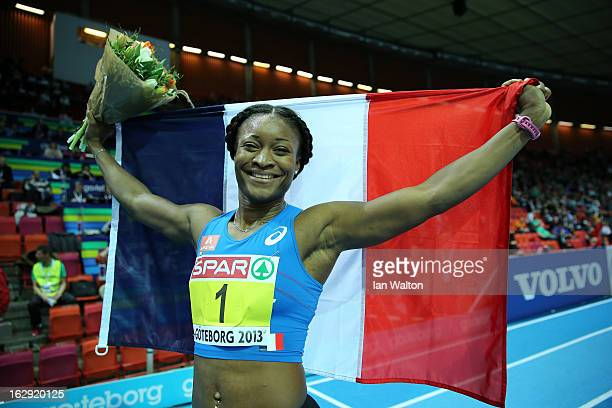Ida Antoinette Nana Djimou of France celebrates winning gold in the Women's Pentathlon during day one of the European Athletics Indoor Championships...