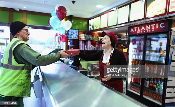 Ida Fionda serves a customer at the Atlantic Fish and Chip Shop in Coatbridge on Friday 22 2010 in Coatbridge Scotland Atlantic fish and chip shop...