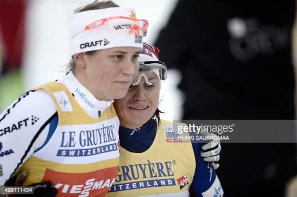 Ida Ingemarsdotter: Ida Ingemarsdotter (L) Of Sweden Hugs Heidi Weng Of Norway