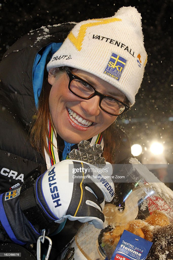 Ida Ingemarsdotter of Sweden takes the silver medal competes during the FIS Nordic World Ski Championships Women's Sprint on February 21, 2013 in Val di Fiemme, Italy.