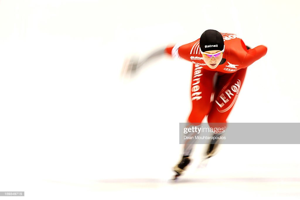 Ida Njatun of Norway competes in the 3000m Ladies race during the Essent ISU European Speed Skating Championships 2013 at Thialf Stadium on January 12, 2013 in Heerenveen, Netherlands.
