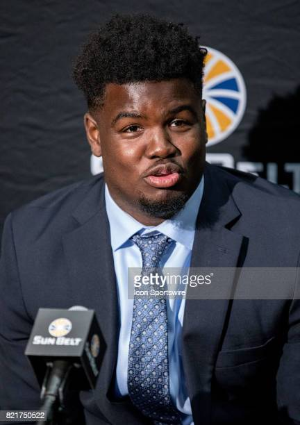 Idaho defensive lineman Aikeem Coleman interacts with media during the Sun Belt Media Day on July 24 2017 at the MercedesBenz Superdome on