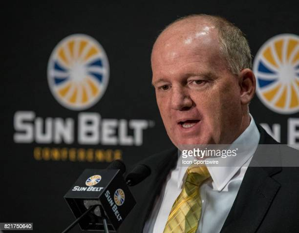 Idaho head coach Paul Petrino interacts with media during the Sun Belt Media Day on July 24 2017 at the MercedesBenz Superdome on