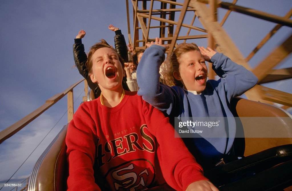 Riding the 'Grizzly' roller coaster at the Silverwood Amusement Park.