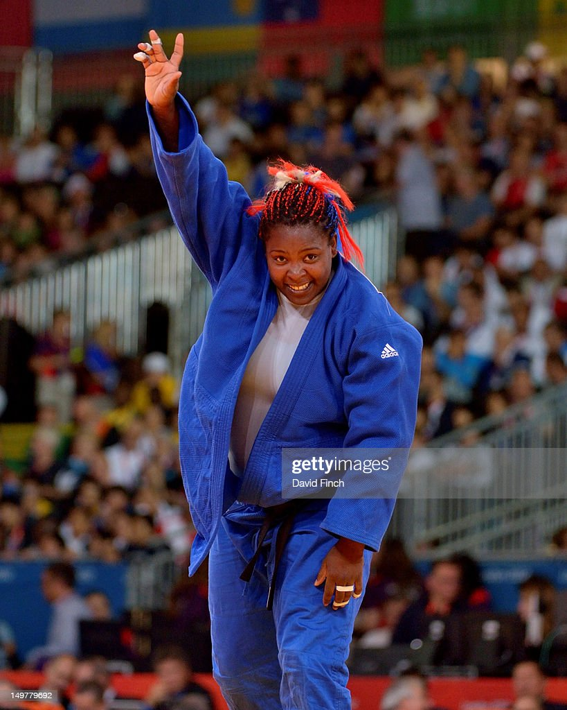 Idalys Ortiz of Cuba celebrates reaching the final by defeating Wen Tong of China in the Women's +78 kg Judo on Day 7 of the London 2012 Olympic Games at ExCeL on August 3, 2012 in London, England.