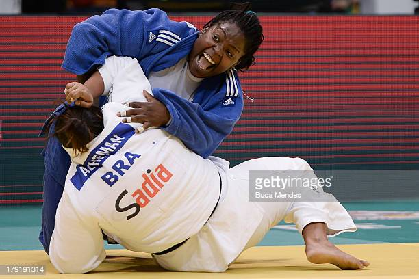 Idalys Ortiz of Cuba competes with Maria Altheman of Brazil during the 78kg category woman final of the IJF World Judo Championship at Gymnasium...
