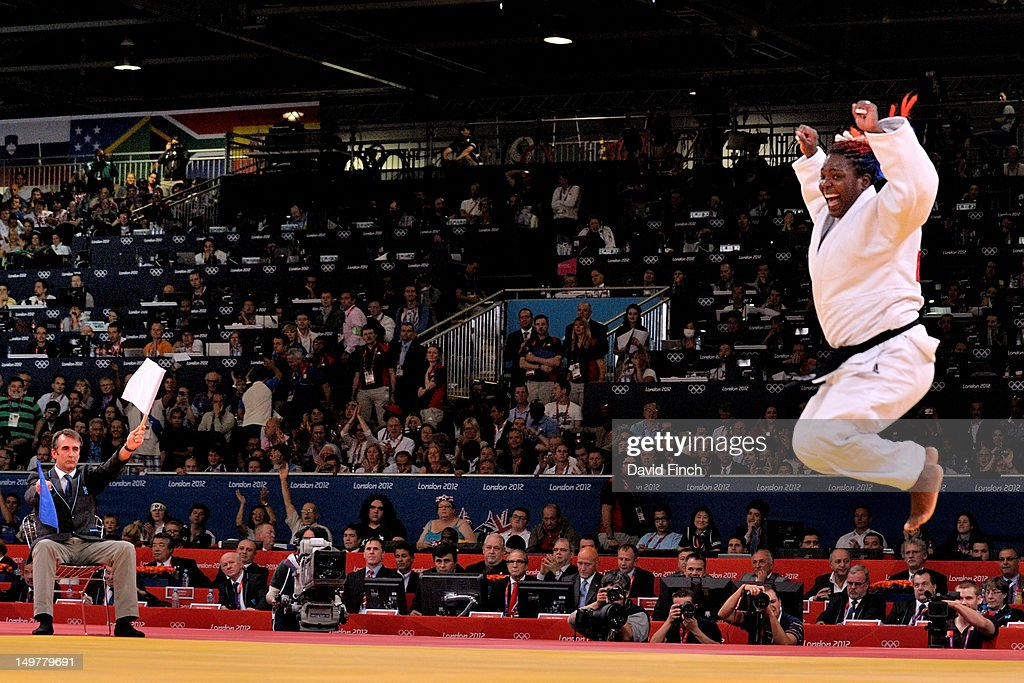 Idalys Ortiz of Cuba leaps in the air after defeating Mika Sugimoto of Japan by a referee's decision to win the gold medal after extra-time in the Women's +78 kg Judo on Day 7 of the London 2012 Olympic Games at ExCeL on August 3, 2012 in London, England.