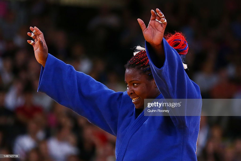 <a gi-track='captionPersonalityLinkClicked' href=/galleries/search?phrase=Idalys+Ortiz&family=editorial&specificpeople=5492242 ng-click='$event.stopPropagation()'>Idalys Ortiz</a> of Cuba waves to the crowd in the Women's +78 kg Judo on Day 7 of the London 2012 Olympic Games at ExCeL on August 3, 2012 in London, England.