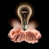 Idea Light Bulb Levitating Over Nurturing Hands