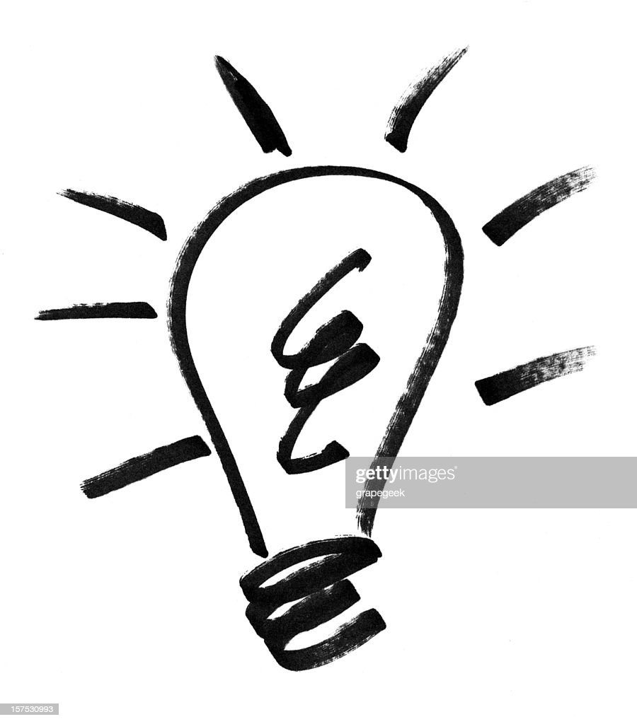 Idea lightblub drawing : Stock Photo