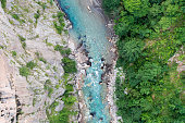 High angle view of a turquoise Tara river canyon