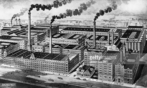 idealisierte Ansicht der Brauerei Joseph Schlitz in Milwaukee 1900