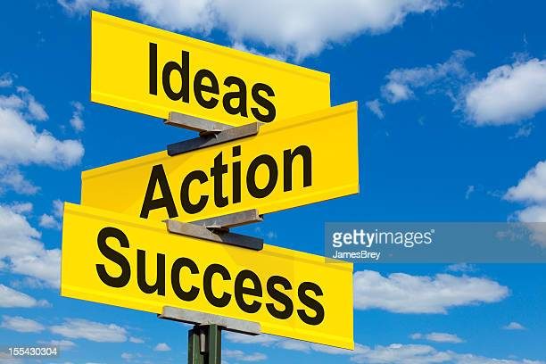 Ideas, Actions, Success Road Sign