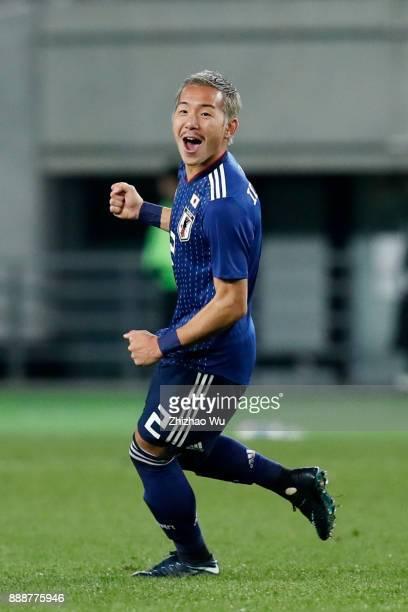 Ideguchi Yosuke of Japan celebrates scoring during the EAFF E1 Men's Football Championship between Japan and North Korea at Ajinomoto Stadium on...