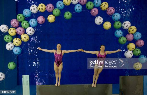 Identical twin sisters Helen and Carol Galashan two of Britain's leading synchronised diving hopefuls for 2012 at the Aquatics Centre part of the...