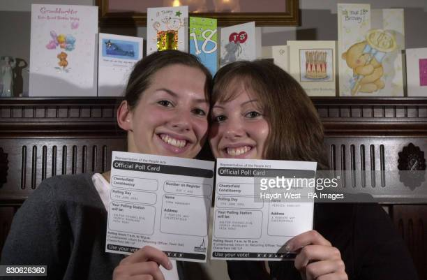 Identical twins Emma and Rebecca Handbury from Chesterfield celebrate their 18th birthday with both birthday cards and polling cards as they prepare...