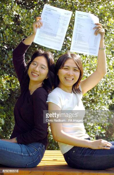Identical Twins Yan Ling Li and Yan Yi Li after opening their Alevel results at Colchester County High School for Girls The girls achieved straight A...