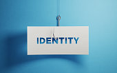 White paper with identity text hooked by a fishing hook over blue background. Identity security and phishing concept. Horizontal composition with copy space.