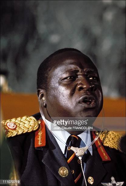 Idi Amin Dada in the summit of Uganda in Addis Ababa Ethiopia on January 10 1976