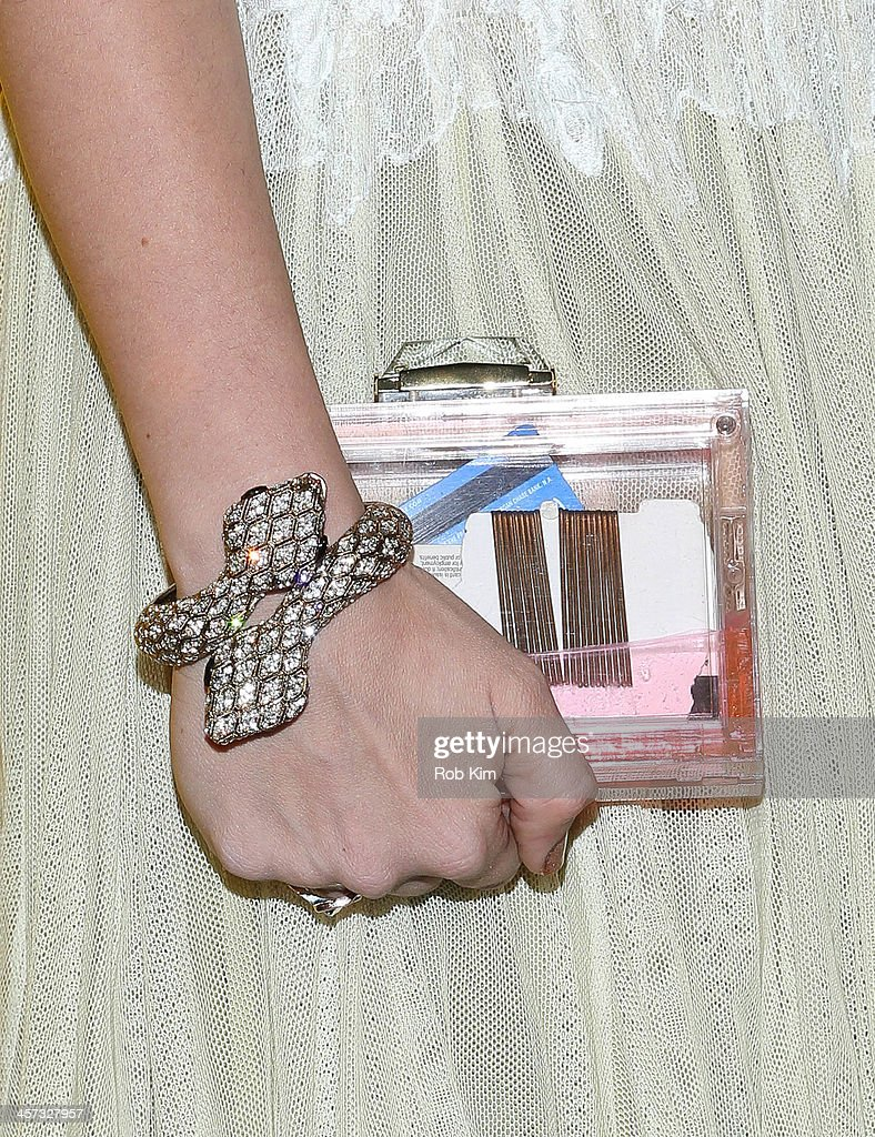 Idil Tabanca (bracelet and clutch detail) attends the 8th annual charity: ball Gala at the Duggal Greenhouse on December 16, 2013 in the Brooklyn borough of New York City.