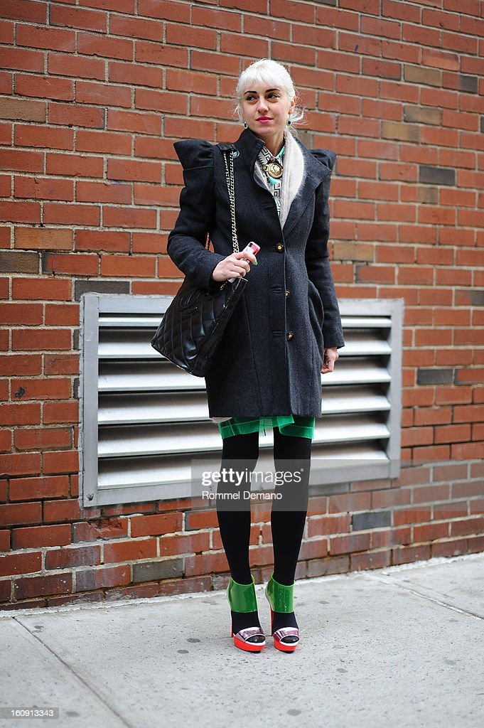<Idil Tabanca, Editor In Chief of Bullet, attends the Costello Tagliapietra show wearing Chanel bag and Louis Vuitton shoes on February 7, 2013 in New York City.