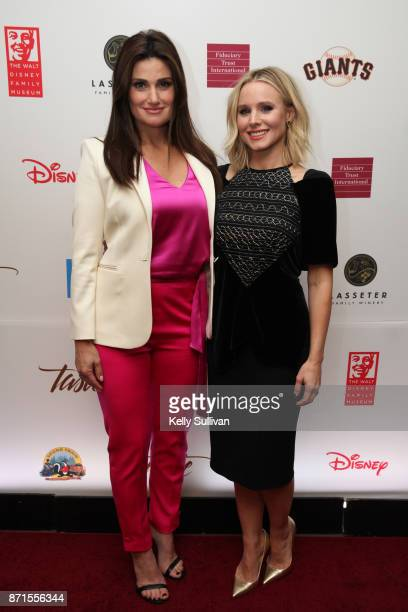 Idina Menzel and Kristen Bell pose for photos on the red carpet during The Walt Disney Family Museum's 3rd Annual Fundraising Gala at the Golden Gate...